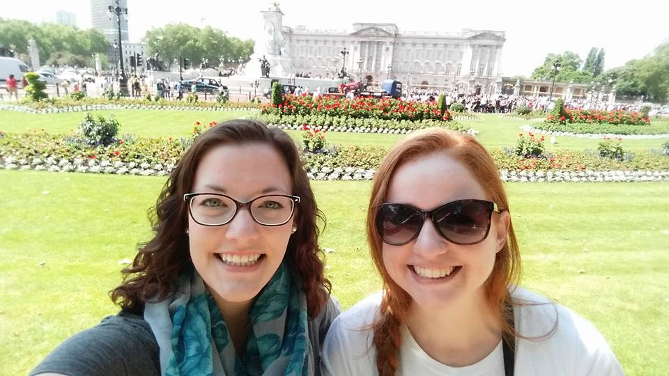 In front of Buckingham Palace with my best friend.